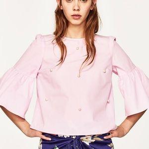 Zara Pearl Embellished Bell Sleeve Blouse
